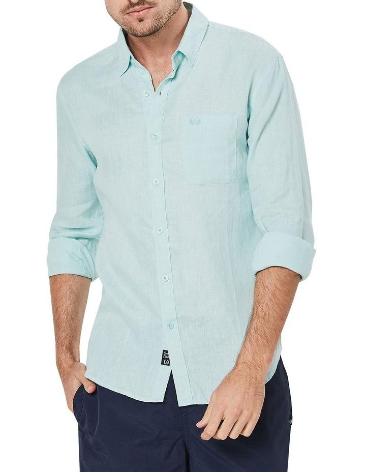 Long Sleeve Linen Shirt in Spearmint image 1