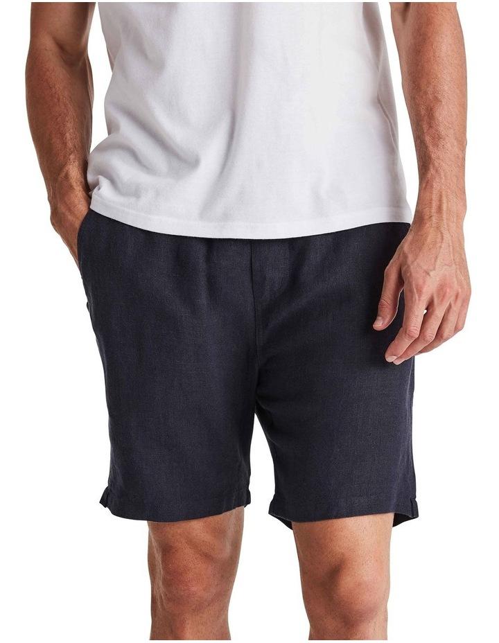 Linen Short in Navy image 1