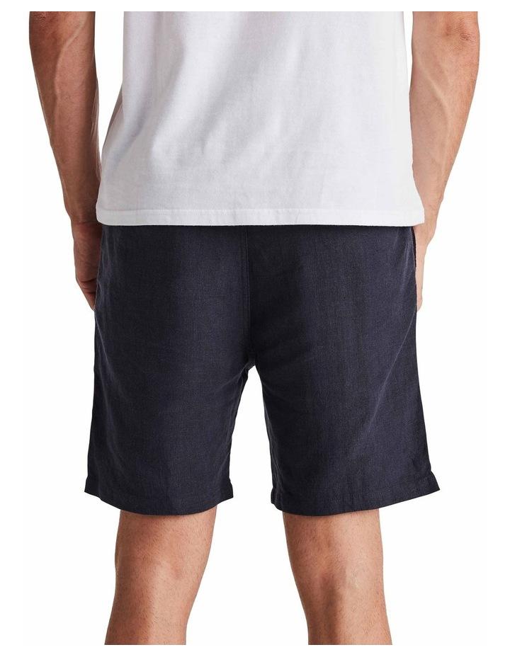 Linen Short in Navy image 3
