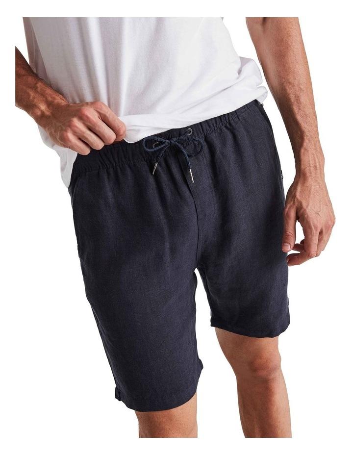 Linen Short in Navy image 4