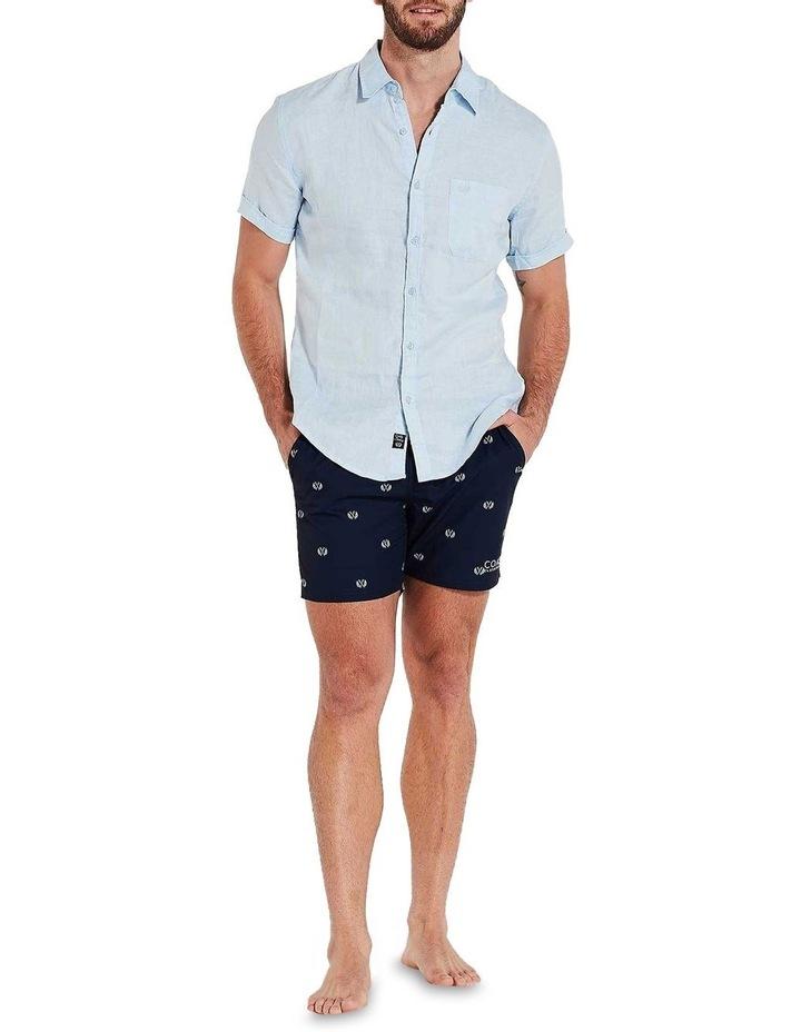 Short Sleeve Sky Blue Linen Shirt image 1