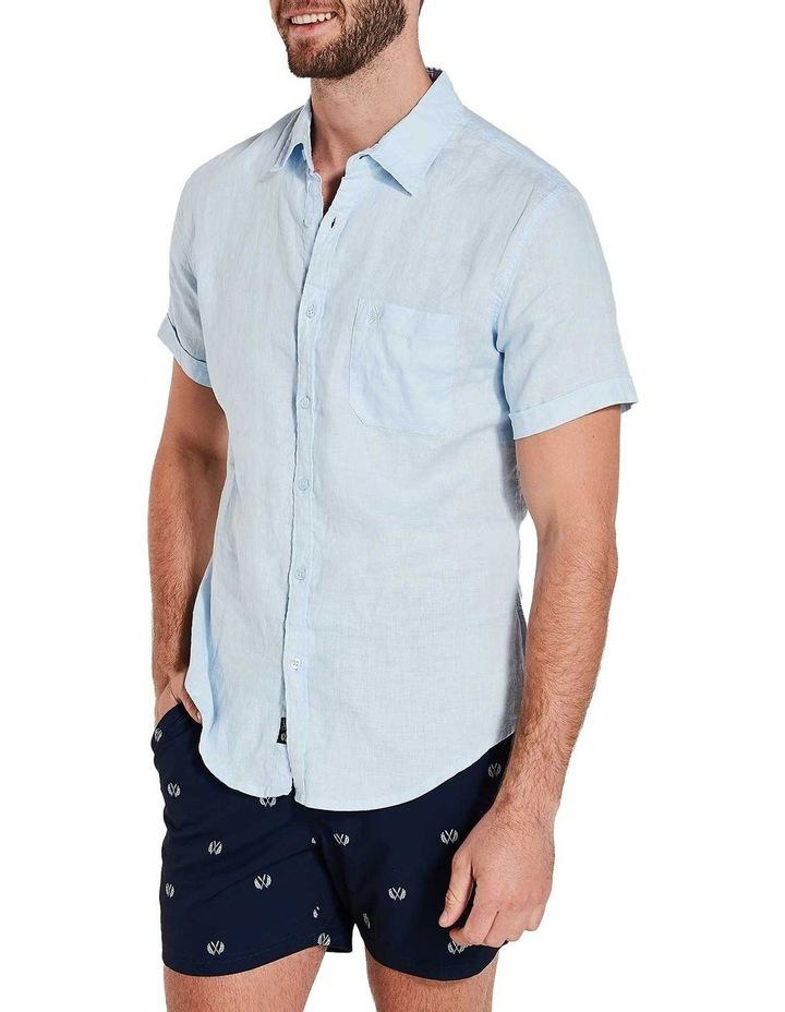 Short Sleeve Sky Blue Linen Shirt image 2