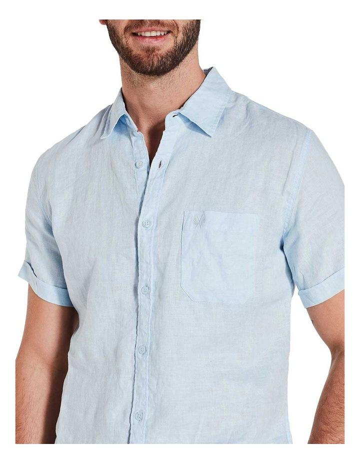 Short Sleeve Sky Blue Linen Shirt image 5