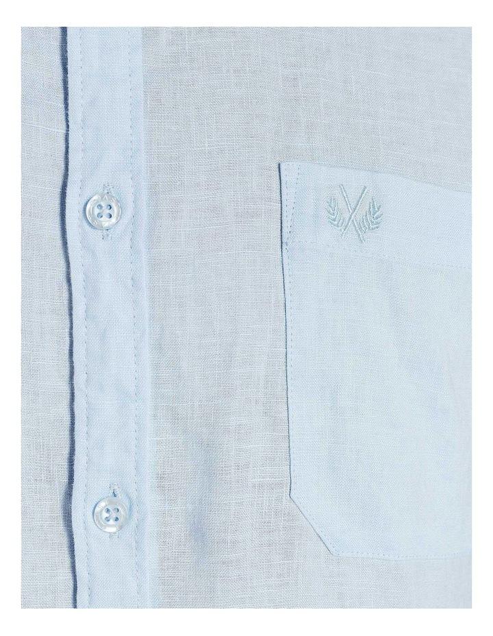 Short Sleeve Sky Blue Linen Shirt image 6