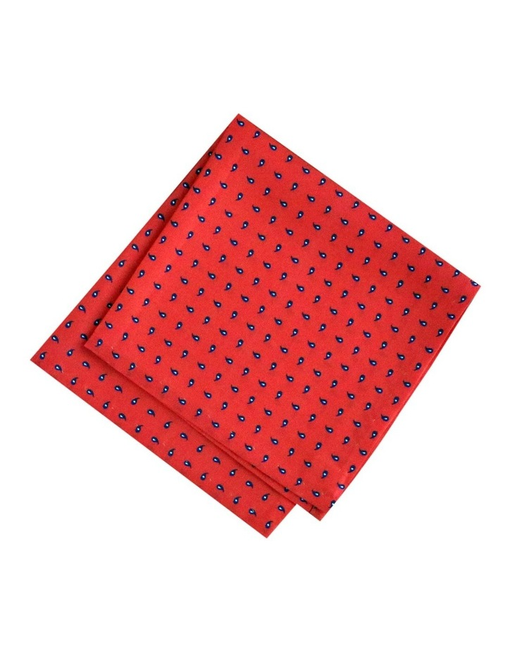Red Pure Silk Pocket Square With Motif Australian Made image 1