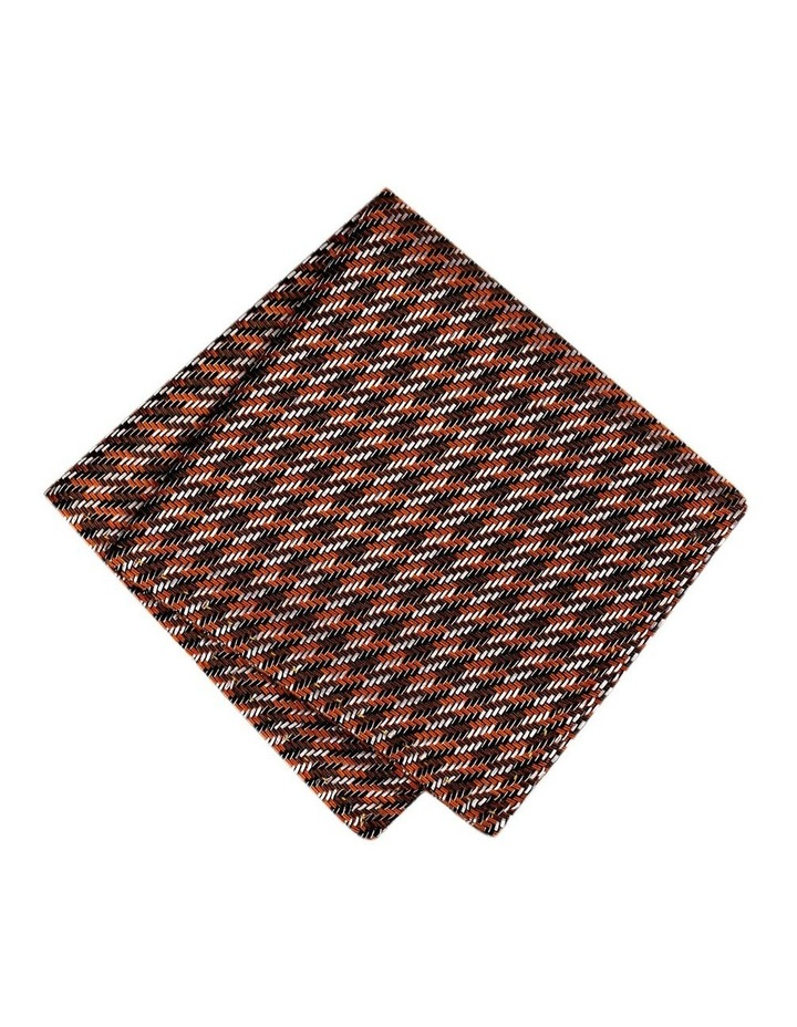 Italian Silk Linen Steps Pattern Pocket Square image 1