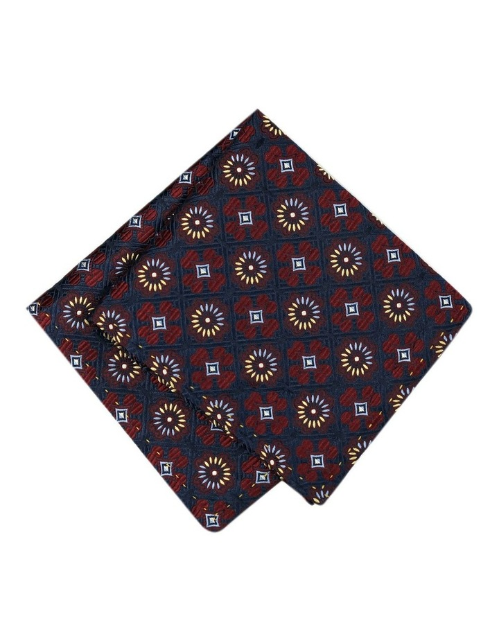 Italian Pure Silk Floral And Diamond Pattern Pocket Square image 1