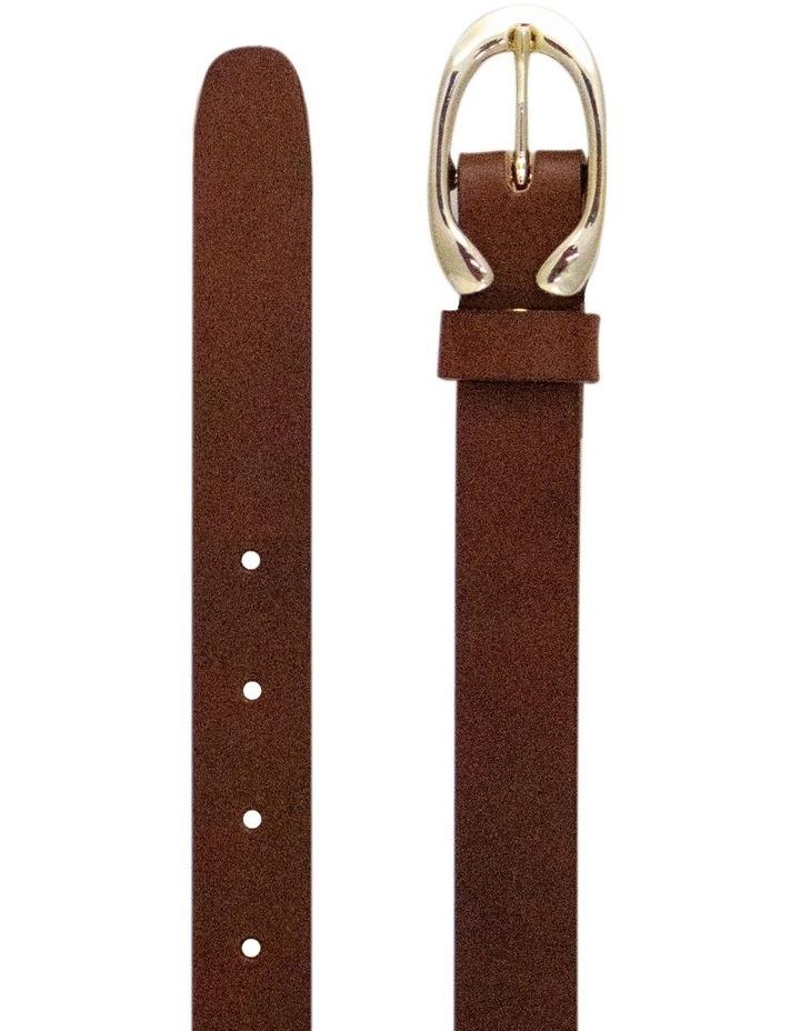 Light Gold Buckle Brown Leather Belt image 1