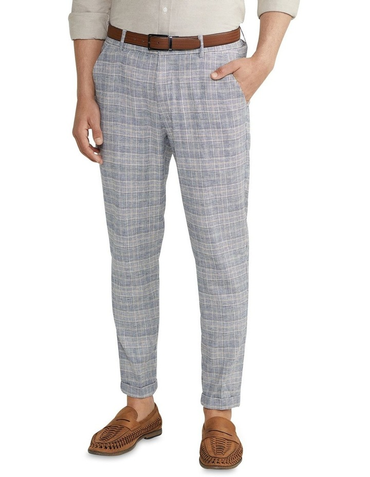 Hooky Linen Check Crop Chino Blue image 1