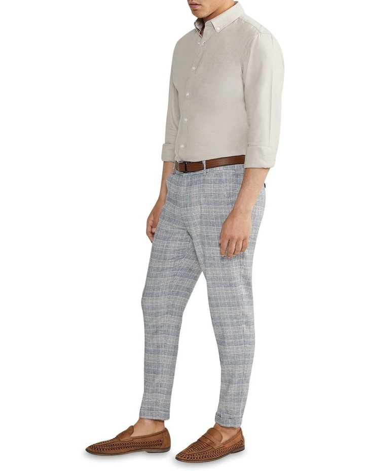 Hooky Linen Check Crop Chino Blue image 4