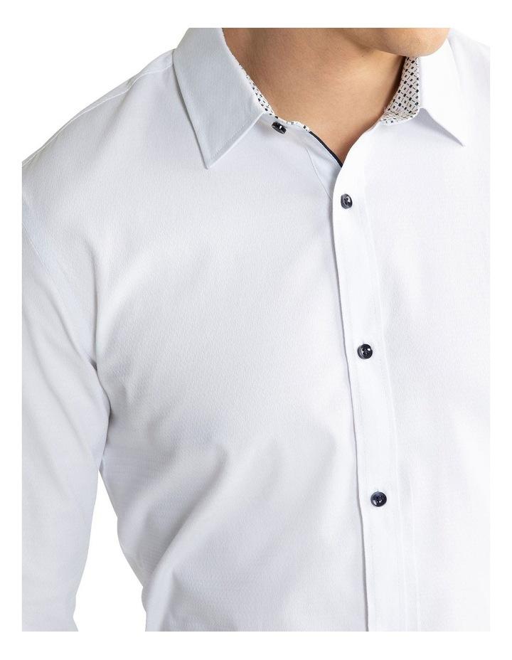Heart Textured Slim Shirt White image 3