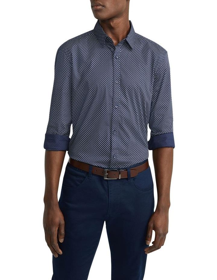 Eddie Printed Slim Shirt Navy image 1
