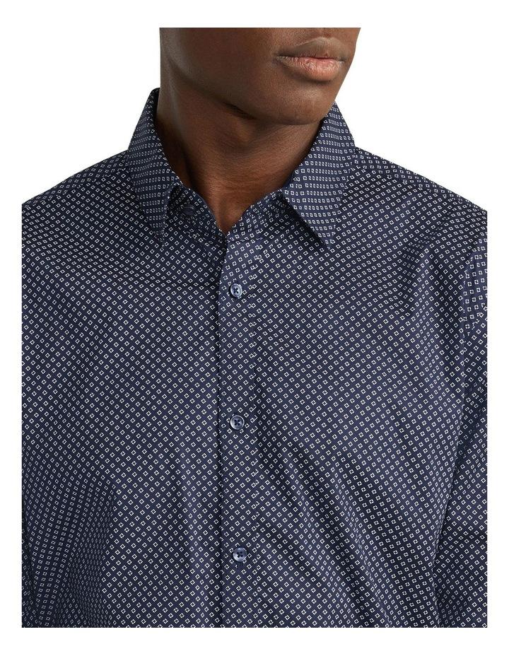 Eddie Printed Slim Shirt Navy image 3