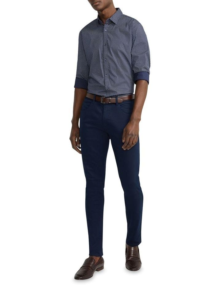 Eddie Printed Slim Shirt Navy image 5