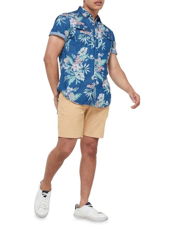 Short Sleeve Denim Loom Shirt Sun Faded Hawaiian image 2