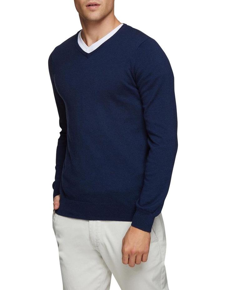Cotton Cashmere V-Neck Pullover image 2