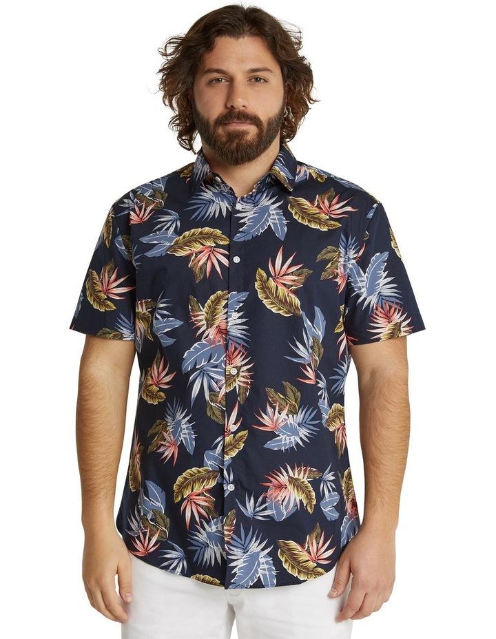 The Lennox Leaf Print Shirt Navy image 1