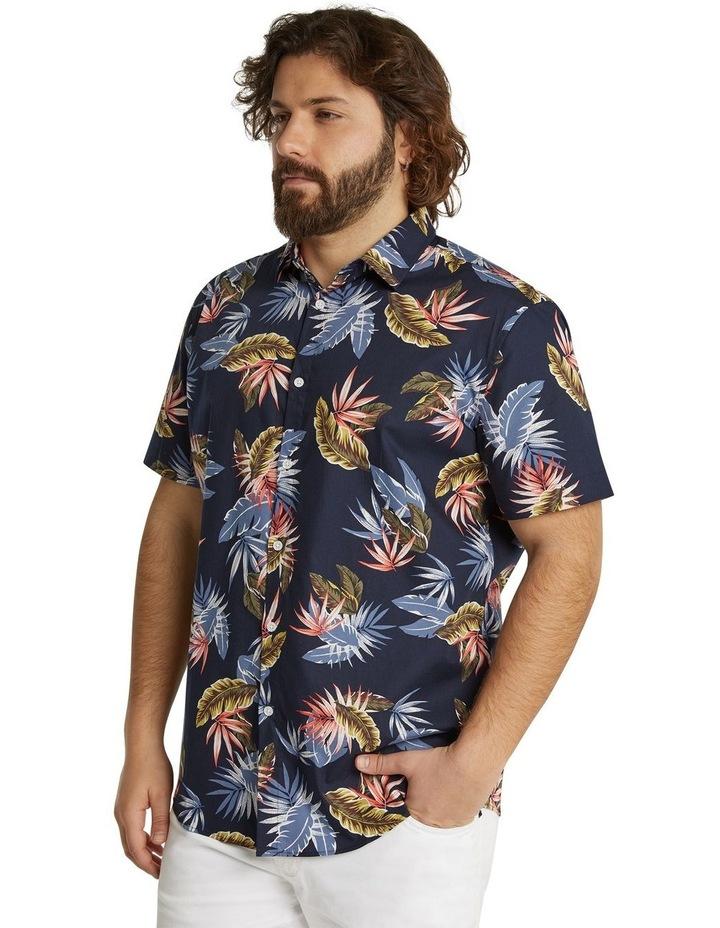 The Lennox Leaf Print Shirt Navy image 2