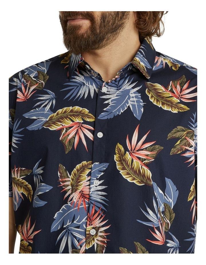 The Lennox Leaf Print Shirt Navy image 4