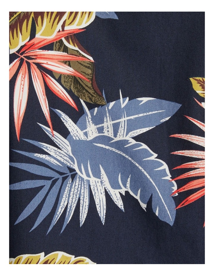 The Lennox Leaf Print Shirt Navy image 6
