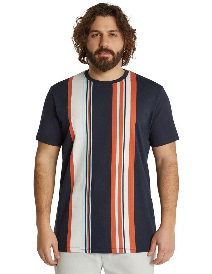 he Fergus Vertical Stripe Longline Tee Navy image 1