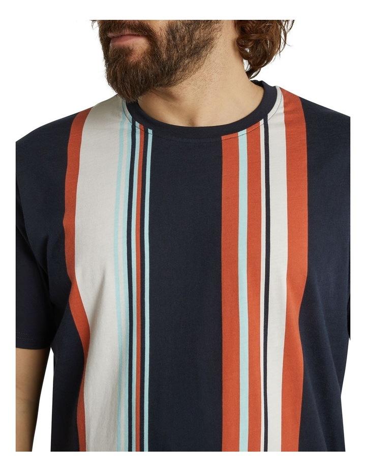 he Fergus Vertical Stripe Longline Tee Navy image 4
