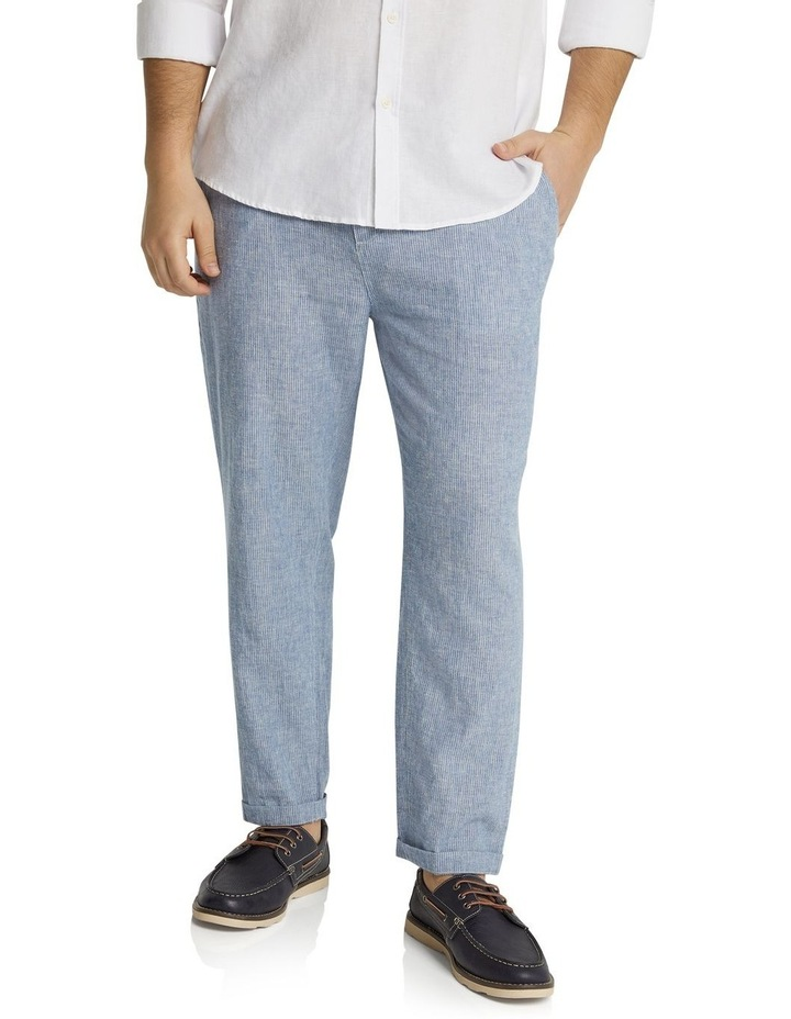 The Maddox Stripe Linen Blend Pant Blue image 1