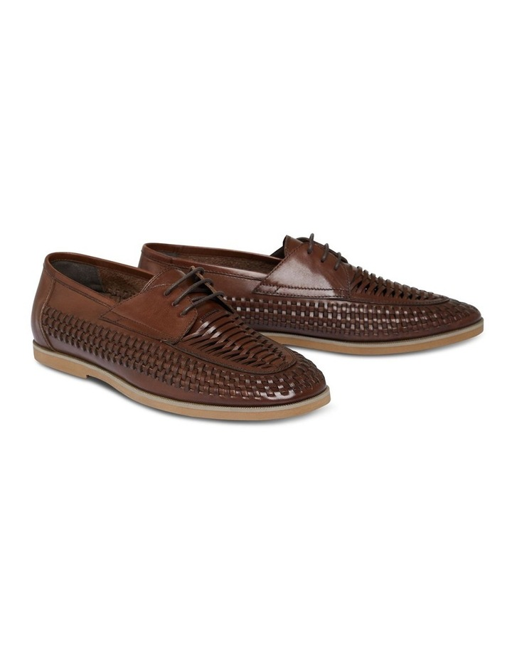 Styles Leather Woven Lace Up Shoe Chocolate image 1