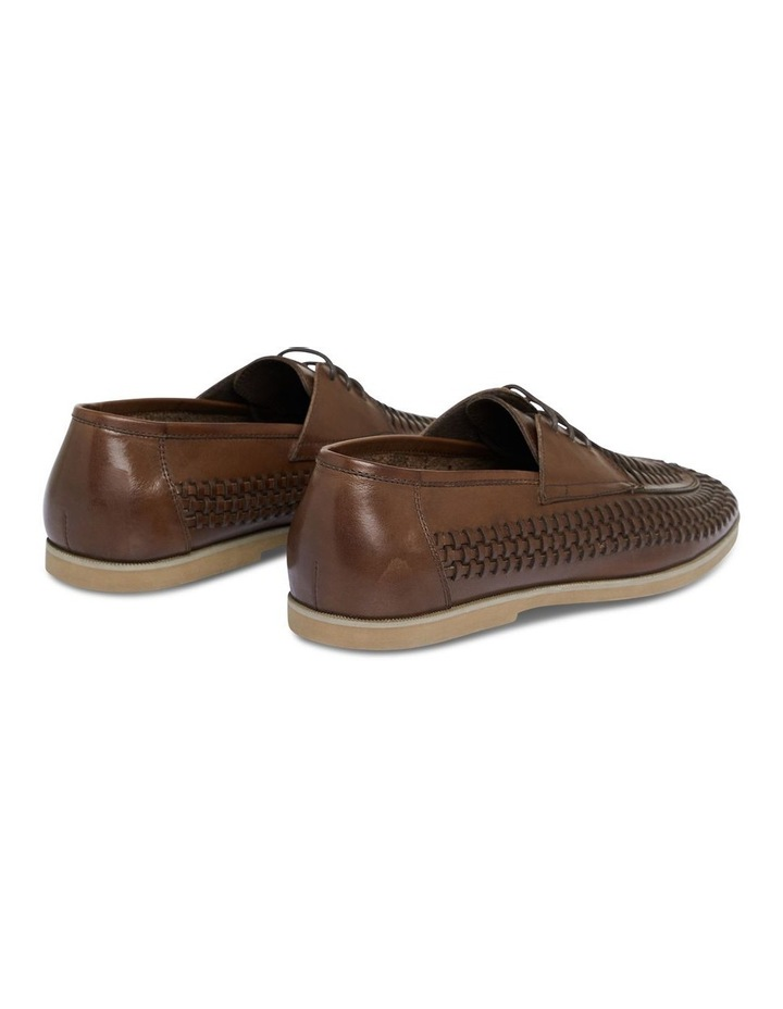 Styles Leather Woven Lace Up Shoe Chocolate image 2