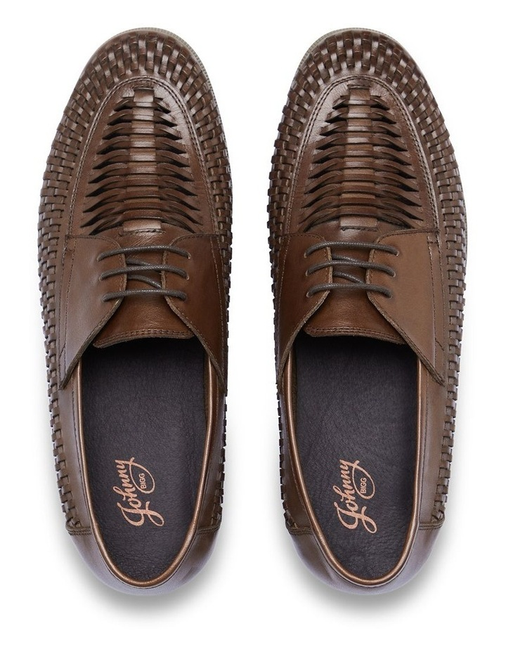 Styles Leather Woven Lace Up Shoe Chocolate image 4