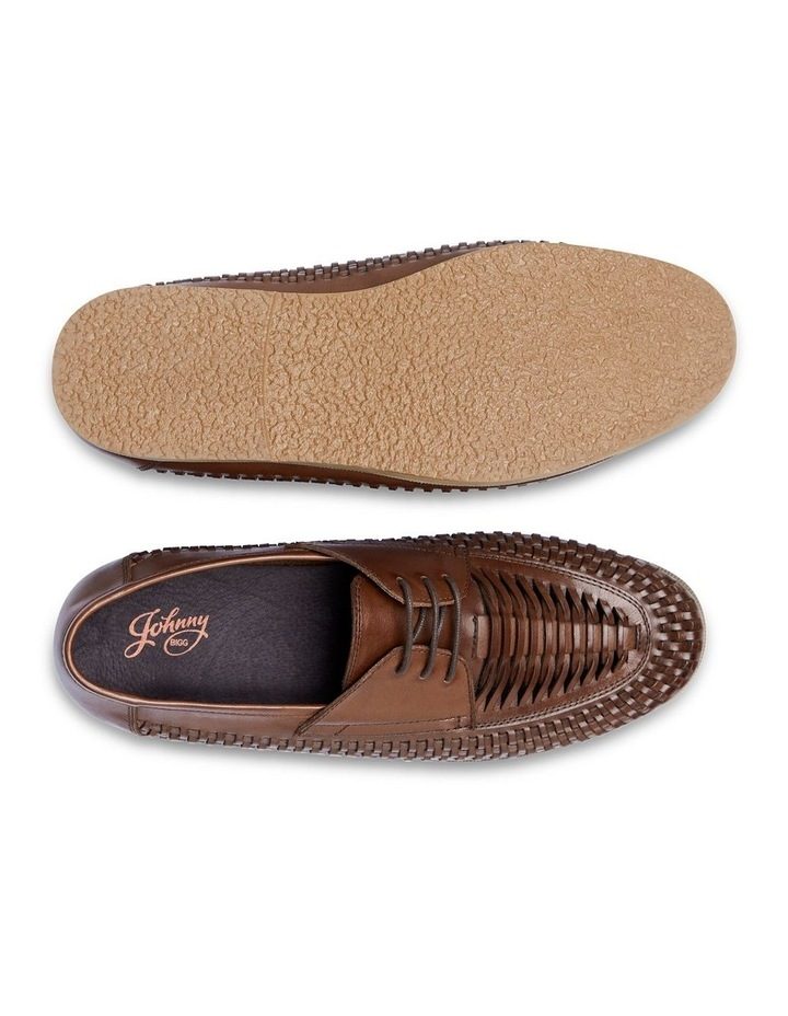 Styles Leather Woven Lace Up Shoe Chocolate image 5