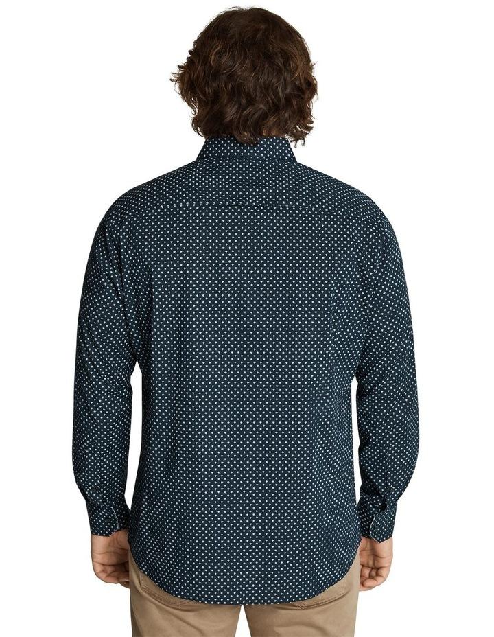 Neil Micro Print Stretch Shirt Navy image 3