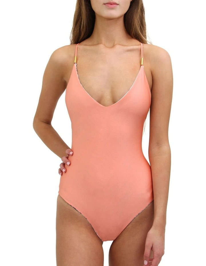 One Piece Swimsuit - Palm Print / Pink Reversible image 2