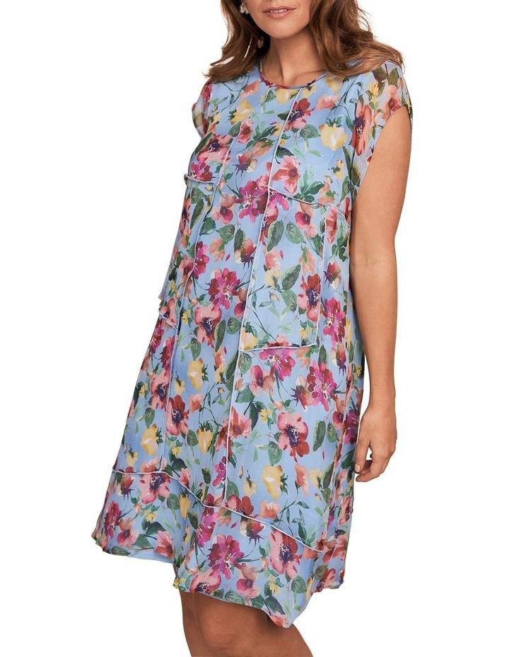 Printed Silk Fluttler Sleeve Dress image 1