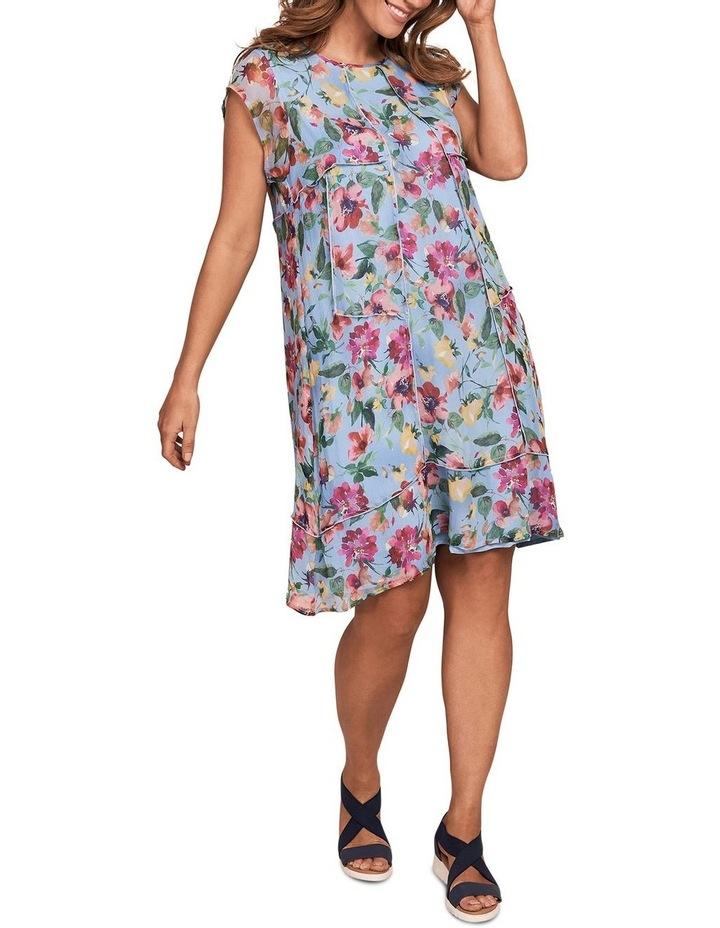 Printed Silk Fluttler Sleeve Dress image 2