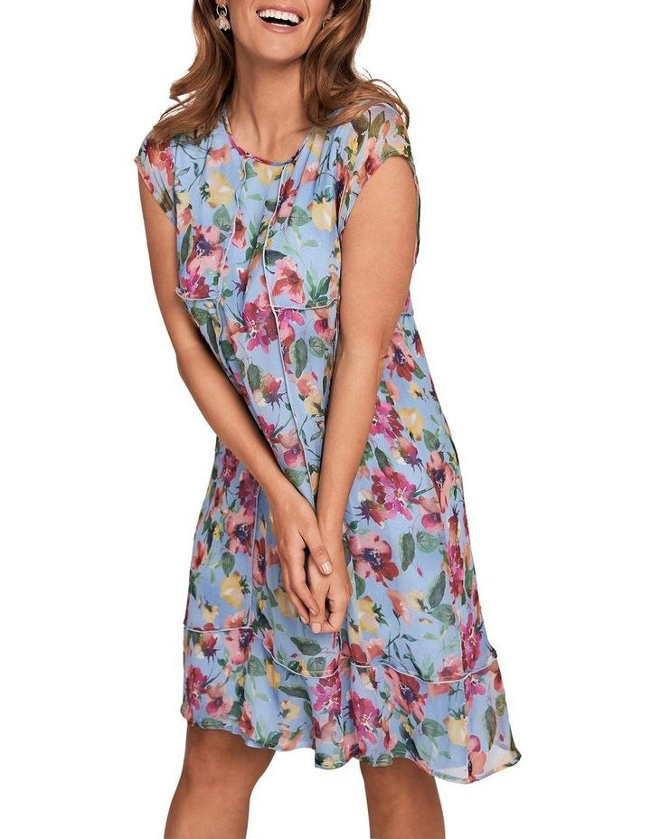 Printed Silk Fluttler Sleeve Dress image 3