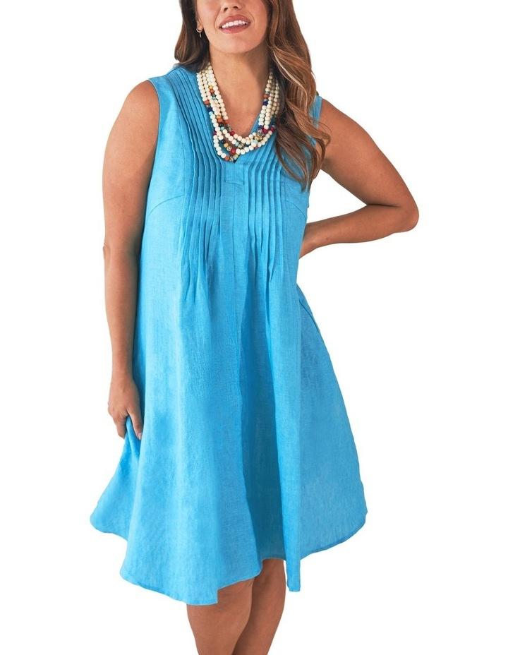 Pleat Detail Linen Dress image 1