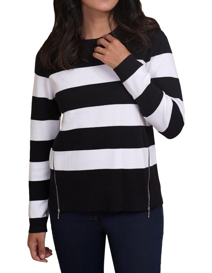 Zip Detail Stripe Knit image 1