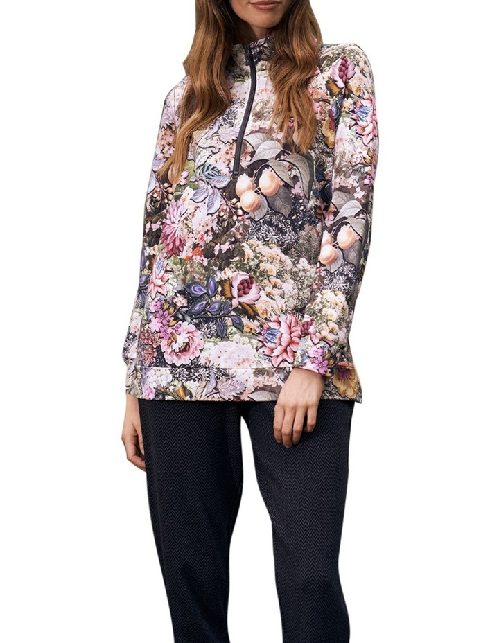 Printed Zip Collar Pullover image 1