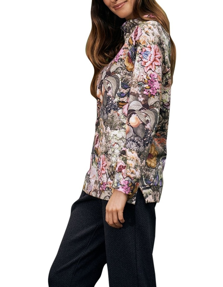 Printed Zip Collar Pullover image 2