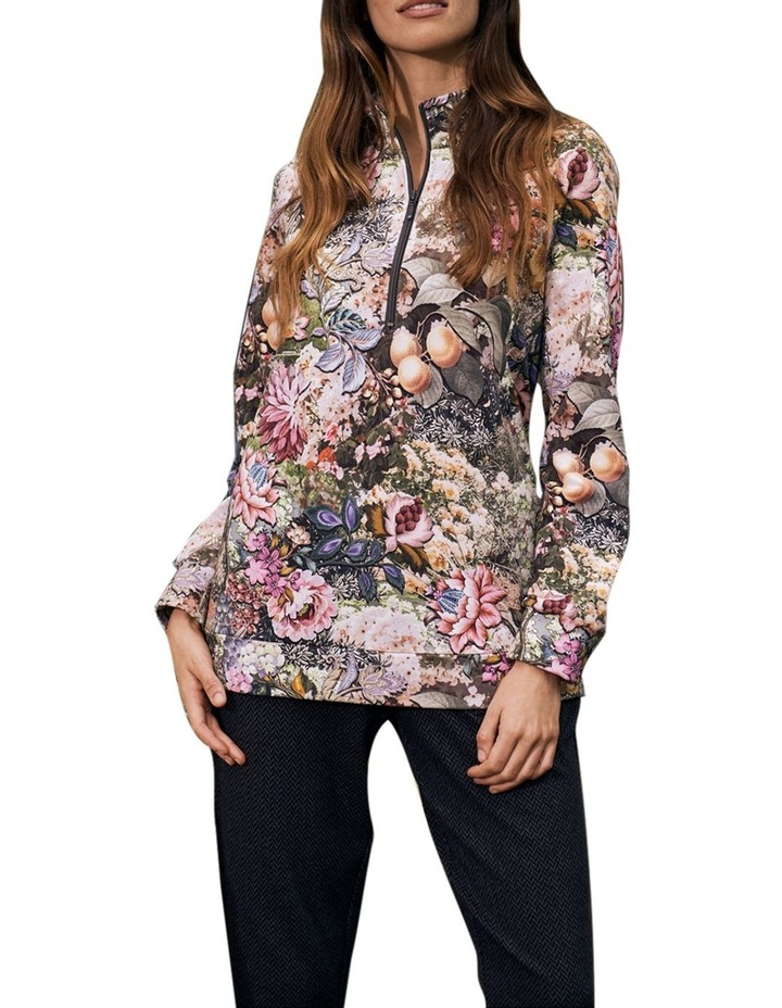 Printed Zip Collar Pullover image 3