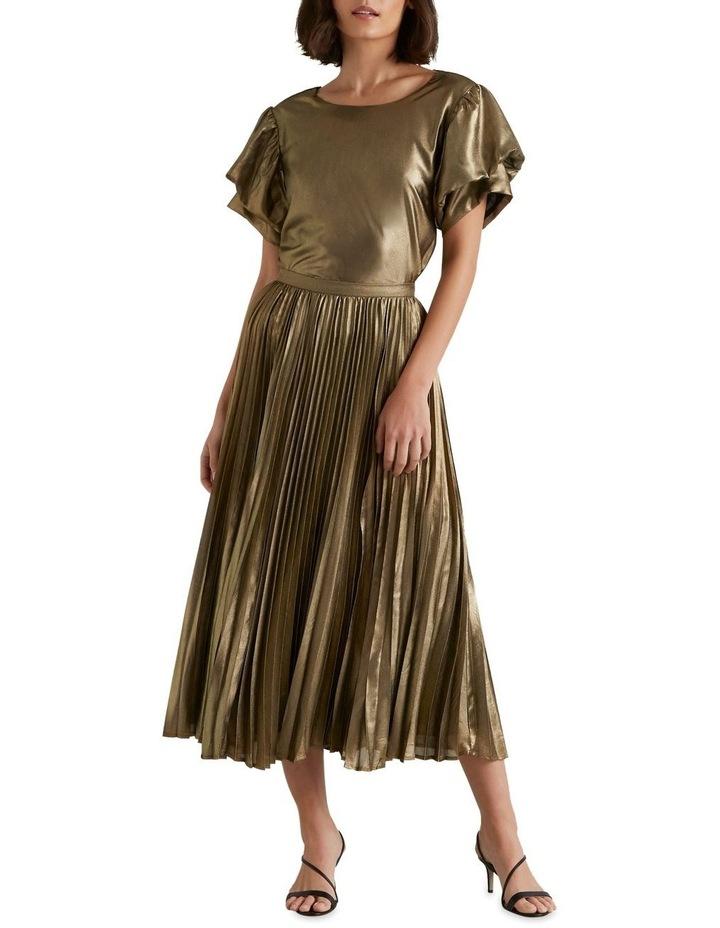 Pleated Lamé Skirt image 1