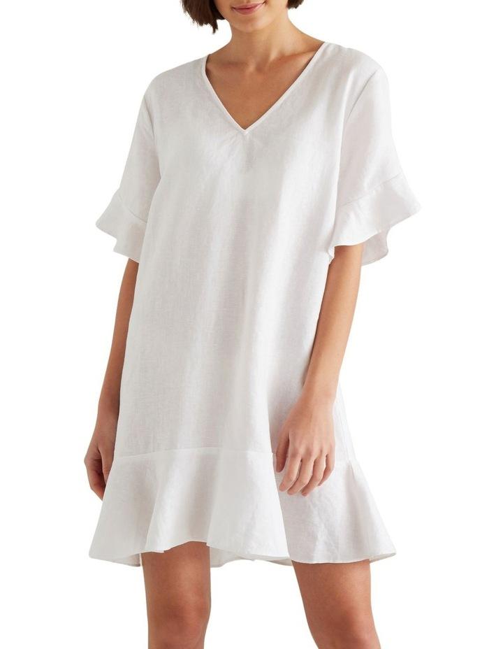 Linen Flutter Sleeve Dress image 1