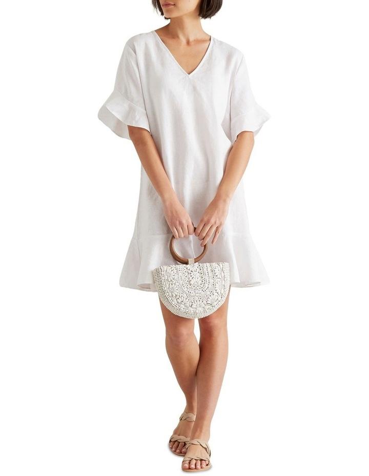 Linen Flutter Sleeve Dress image 2