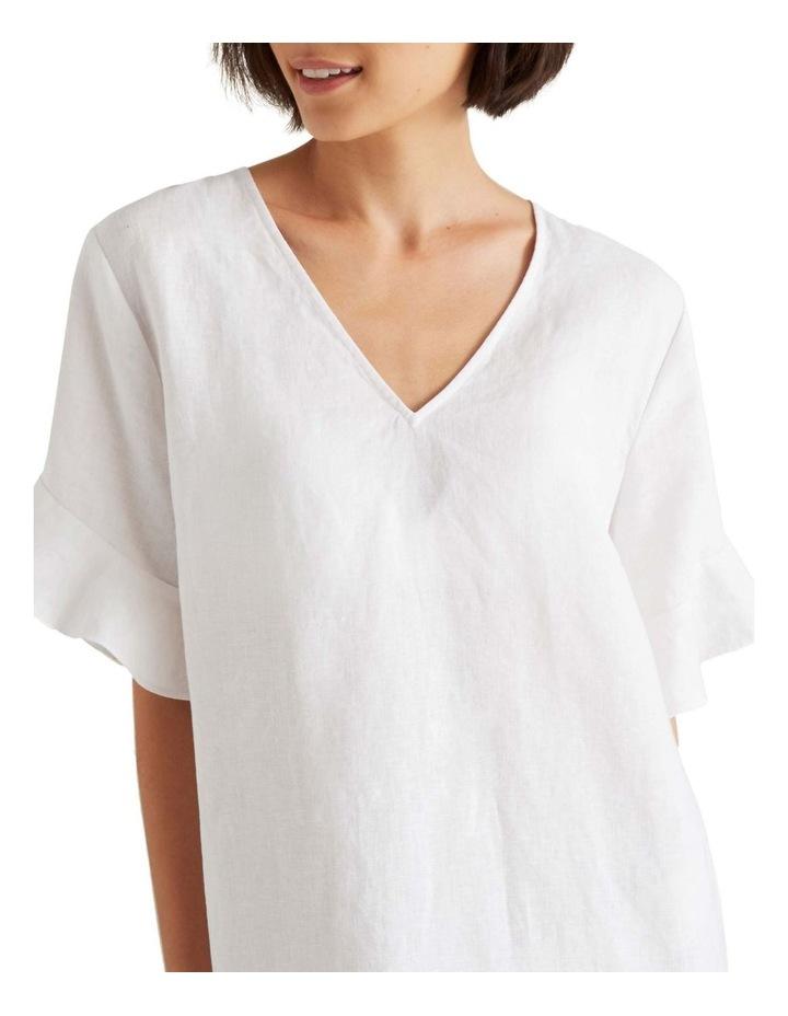Linen Flutter Sleeve Dress image 4