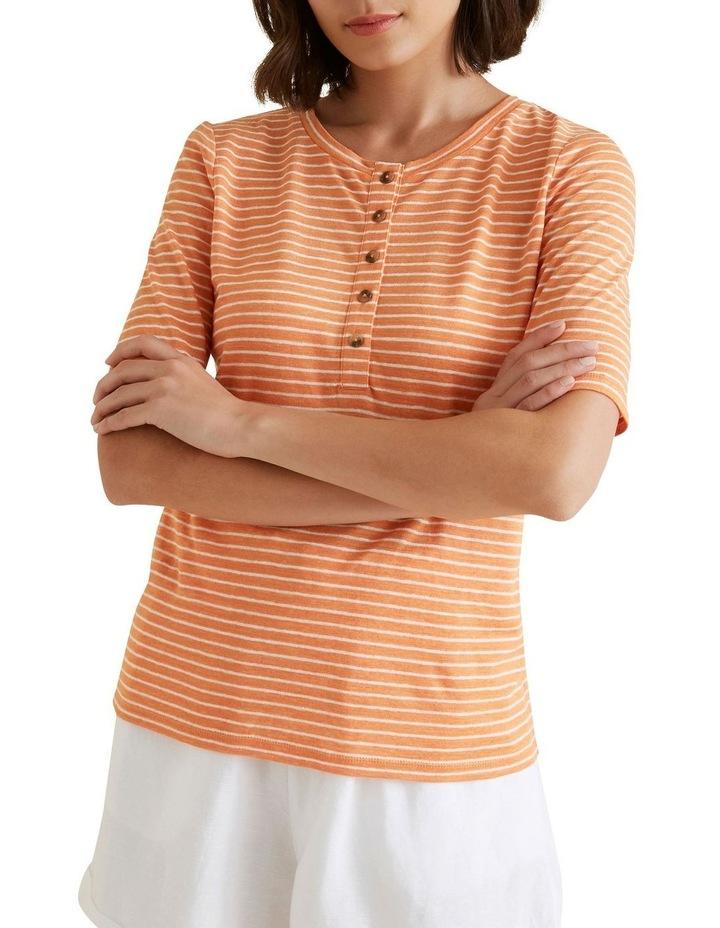 Henley Linen Stripe Top image 1