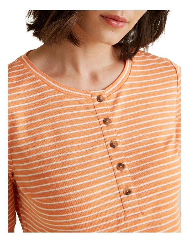 Henley Linen Stripe Top image 4