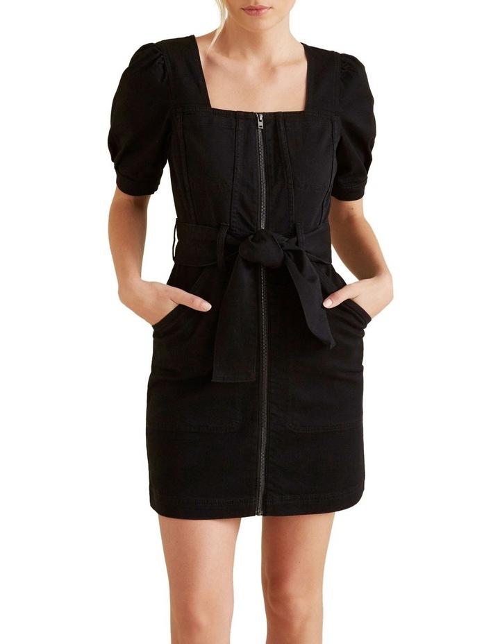 Mini Tie Up Denim Dress image 1