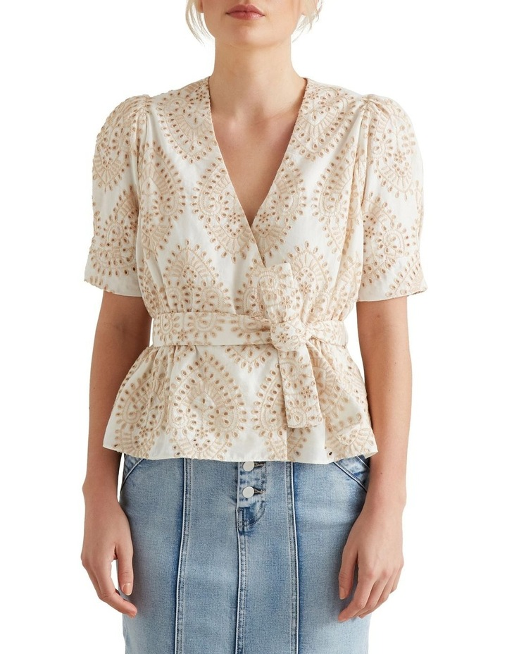 Two Tone Broderie Wrap Top image 1