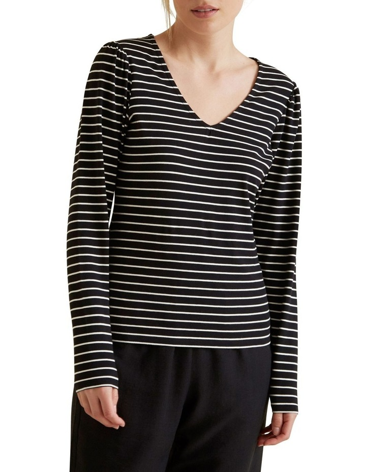 Stripe Puff Sleeve Top image 1